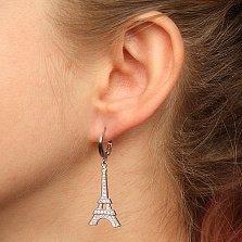 Серебряные серьги-подвески Эйфелева Башня с цирконием