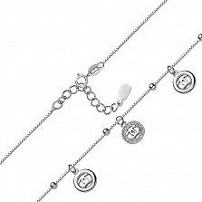 Серебряный браслет Марлена с подвесками и фианитами в стиле Шанель