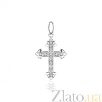 Серебряный крестик с фианитами Агата 000025291