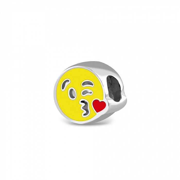 Серебряный шарм Поцелуйчик с желтой и красной эмалью 000079130