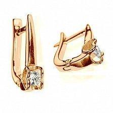 Золотые серьги с бриллиантами Первая любовь