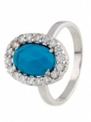 Серебряное кольцо Линда с бирюзой и фианитами