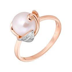 Золотое кольцо в комбинированном цвете с жемчугом 000122732