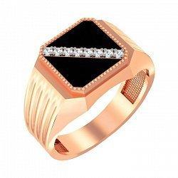 Золотой перстень-печатка Кристофер с фианитами и черной эмалью 000091141