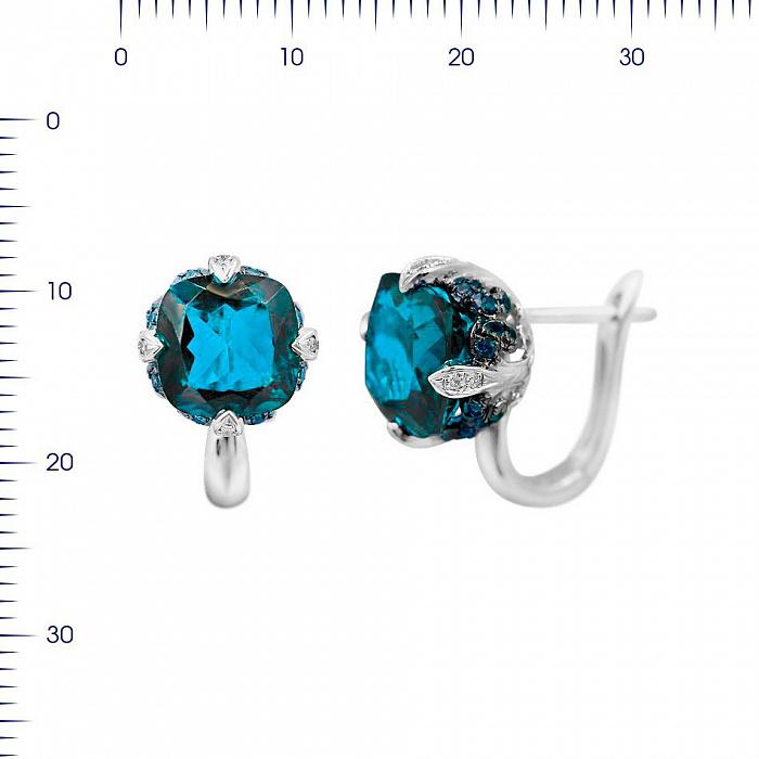 Серьги из белого золота Ширли с бриллиантами, сапфирами и топазом 000081102