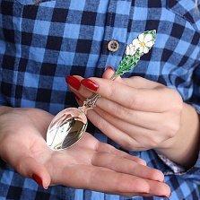 Детская серебряная чайная ложка Ромашки с эмалью