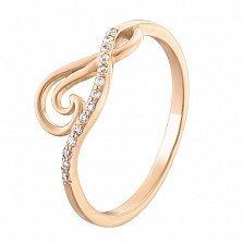 Золотое кольцо с фианитами Лилия