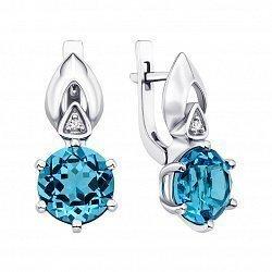 Серебряные серьги с голубым кварцем и фианитами 000134827