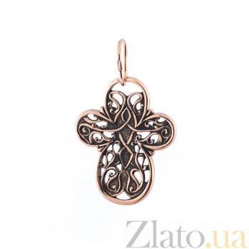Золотой крест с чернением Ангел с небес ONX--п01857