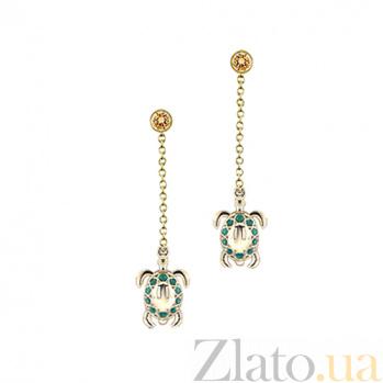 Золотые серьги Черепашки с цитринами и зелеными топазами 000029854
