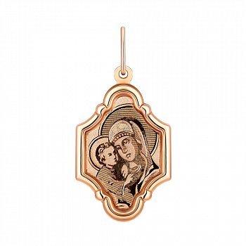 Ладанка из красного золота Божья Матерь с младенцем 000133276
