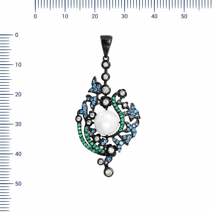 Серебряный подвес Волшебница с жемчугом, синими, зелеными и белыми фианитами 000081754