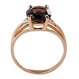 Кольцо из красного золота с раухтопазом и бриллиантами Мишель