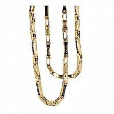 Золотая цепь с ювелирной эмалью Сила