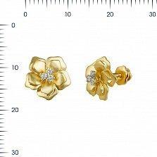 Серьги из желтого золота Маргарита с бриллиантами