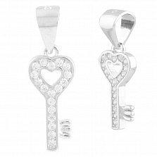 Серебряный кулон Ключ от моего сердца с цирконием
