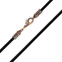 Кожаный шнурок с застежкой из красного золота в форме рыбы  000137206