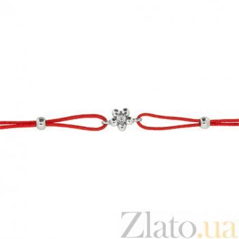 Шелковый браслет Лютик с серебряными вставками с цирконием ZMX--BCCz-00208-Ag_K