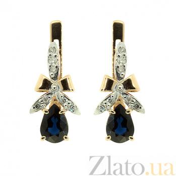 Золотые серьги с бриллиантами и сапфирами Мериса ZMX--EDS-5534_K