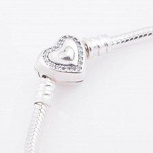 Серебряный браслет для шармов Симфония любви с фианитами