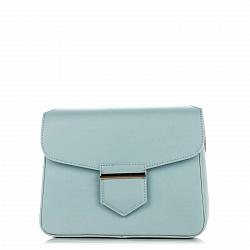 Кожаный клатч Genuine Leather 8689 голубого цвета с магнитом на клапане
