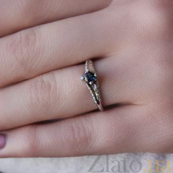 Золотое кольцо Альпина с сапфиром и бриллиантами 000046006