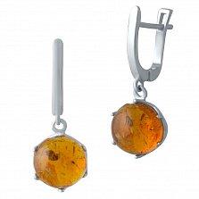 Серебряные серьги-подвески Эльми с янтарем