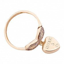 Золотое кольцо Лиара с фианитами и подвеской в стиле Тиффани