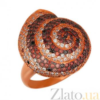 Кольцо из красного золота Ракушка с фианитами VLT--ТТ1012-2