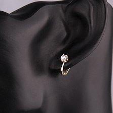 Золотые серьги Гваделина в красном цвете с кристаллами Swarovski