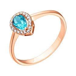 Золотое кольцо с голубым топазом и цирконием 000035735