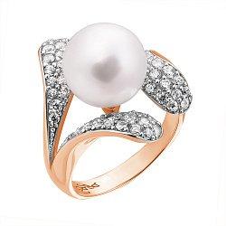 Золотое кольцо с жемчугом и фианитами Эдита