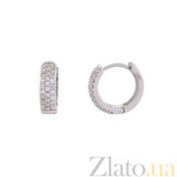 Серьги-кольца серебряные с дорожкой AQA--TE-1003
