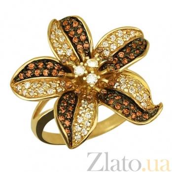 Кольцо из желтого золота Эдельвейс с фианитами VLT--ТТ1019-1