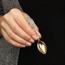Серебряная кофейная ложка с позолотой Роза