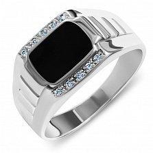 Серебряный перстень-печатка Большой босс с узорной шинкой, дорожками белых фианитов и черной эмалью