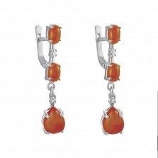 Серебряные серьги-подвески Джемма с кораллами и фианитами