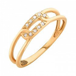 Золотое кольцо с фианитами 000071576