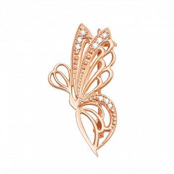 Золота брошка з ажурними білими крилами і фіанітами 000095131