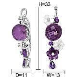 Золотой кулон с аметистами, топазами, перламутром и бриллиантами Фиолет