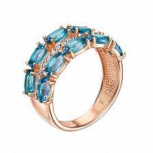 Кольцо из красного золота с топазами и фианитами 000126286