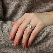 Серебряное кольцо Солнечный антик с желтым и белыми фианитами