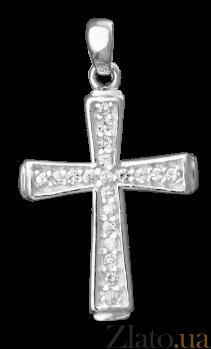 Серебряный крестик с фианитами Эллада 000025384