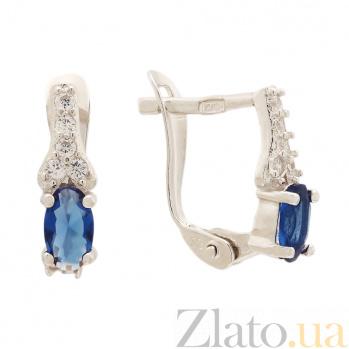 Серьги из серебра с синими фианитами Аджикей SLX--С2ФС/822
