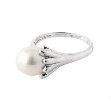 Серебряное кольцо Лавиния с овальной белой жемчужиной