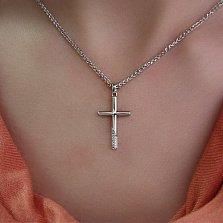 Крестик из белого золота с бриллиантами Древний символ