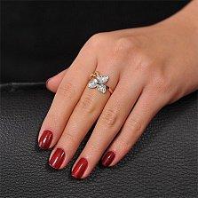 Кольцо с цветком из белого золота Камелия