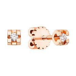 Золотые серьги-пуссеты в красном цвете с бриллиантами 000117273