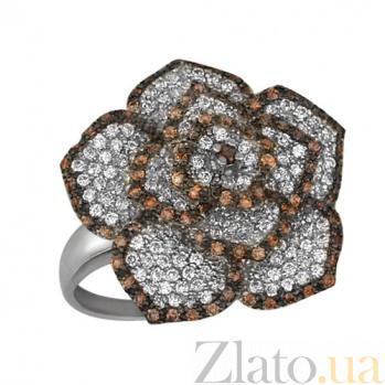 Кольцо из белого золота Королева цветов с фианитами VLT--ТТ1011