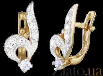Позолоченные серебряные серьги с фианитами Ноты SLX--С3Ф/016